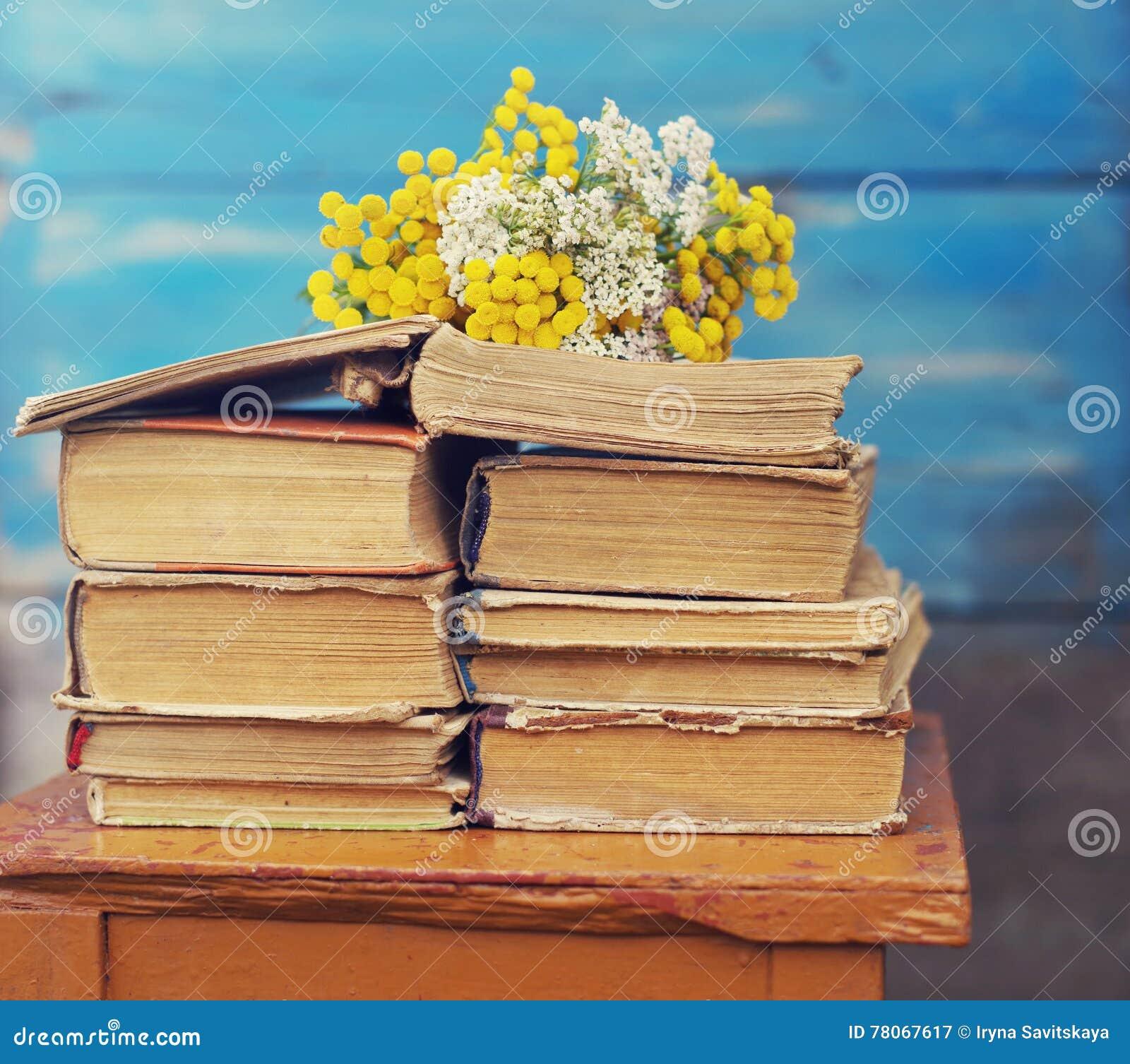 Fiori Gialli Libri.Mucchio Di Vecchi Libri Con Un Mazzo Dei Fiori Gialli Immagine