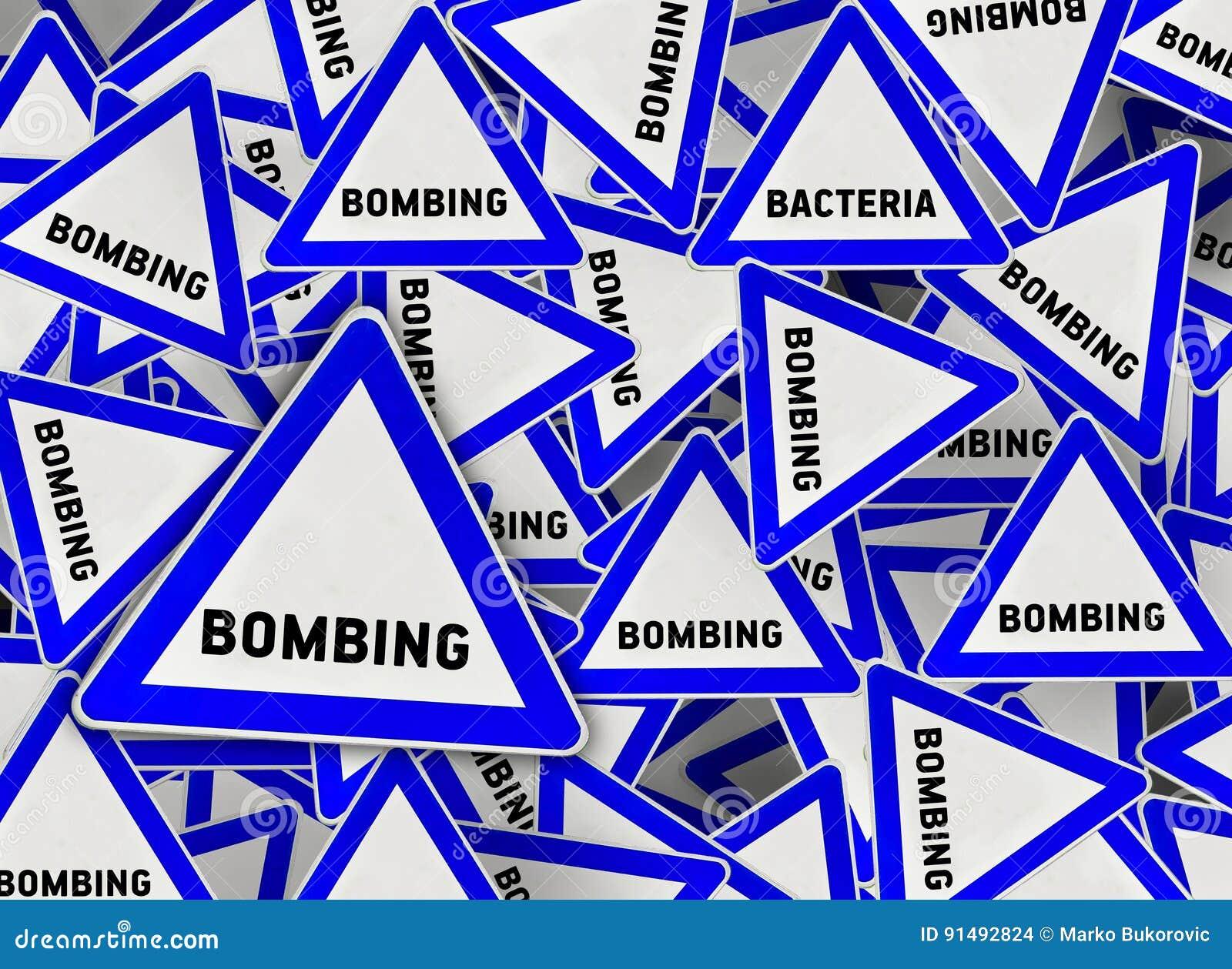 Mucha señal de tráfico del triángulo del bombardeo