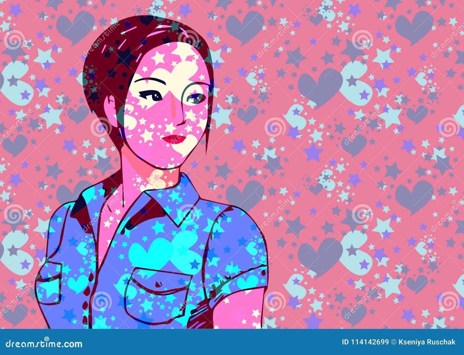 Muchacha adolescente asiática joven, fondo rosa claro de neón, vida de noche y vector de la forma de vida de la moda