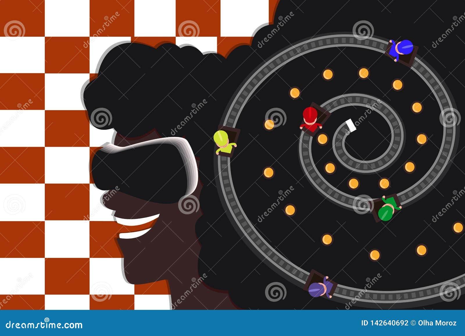Muchacha afroamericana joven en vidrios de la realidad virtual El competir con en las pistas Plano moderno Fondo Checkered