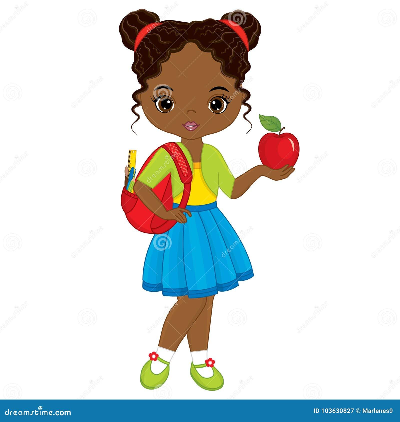 Muchacha afroamericana linda del vector pequeña con el bolso de escuela y el rojo Apple