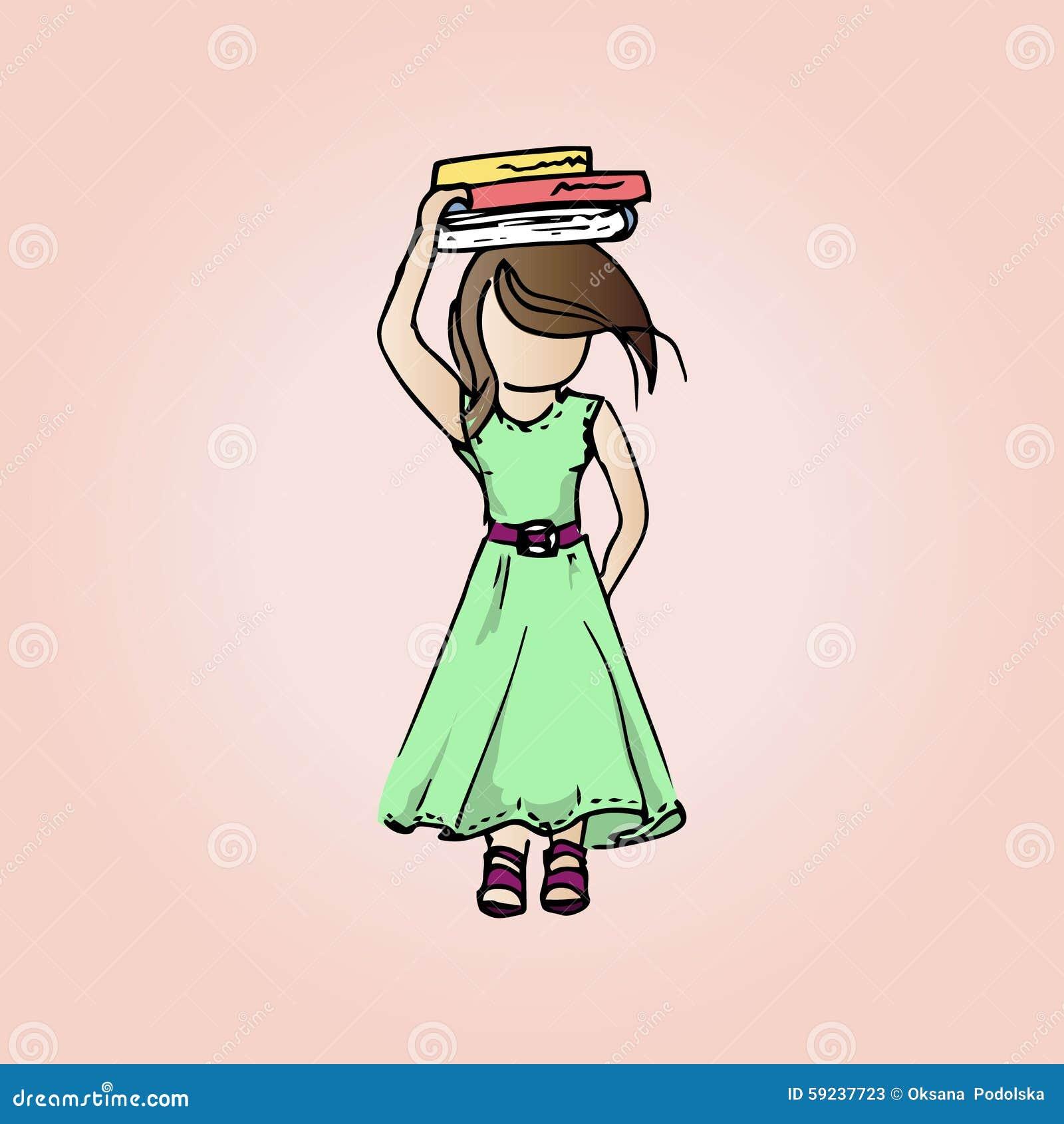 Muchacha bastante modesta del ejemplo con los libros Muchacha del estudiante el vacaciones