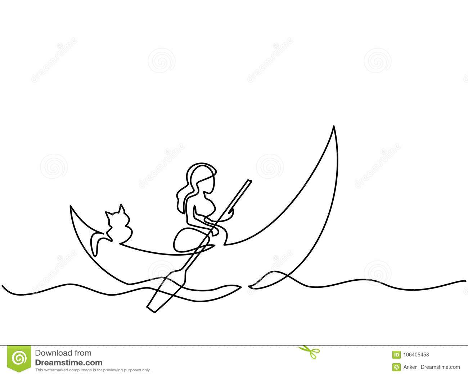 Muchacha con el gato en la luna del bote