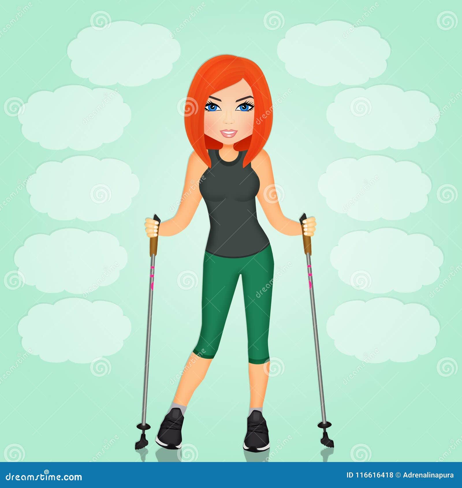 Muchacha con el palillo para caminar nórdico