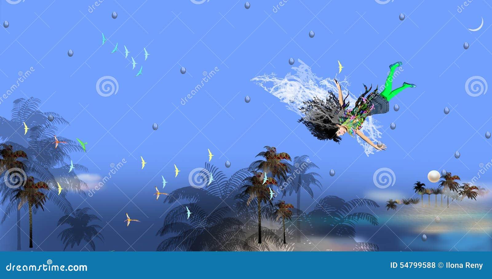 Muchacha con el vuelo grueso del pelo negro en aire azul