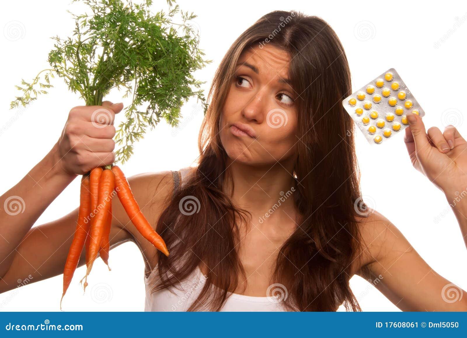 Muchacha con las tablillas y las zanahorias