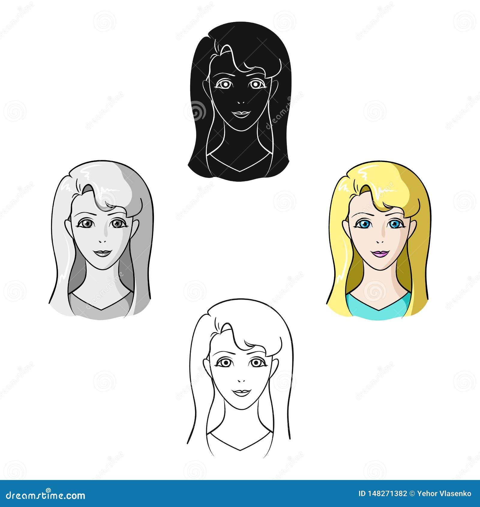Muchacha de Avatar con el pelo blanco Avatar e icono de la cara solo en la historieta, ejemplo negro de la acci?n del s?mbolo del