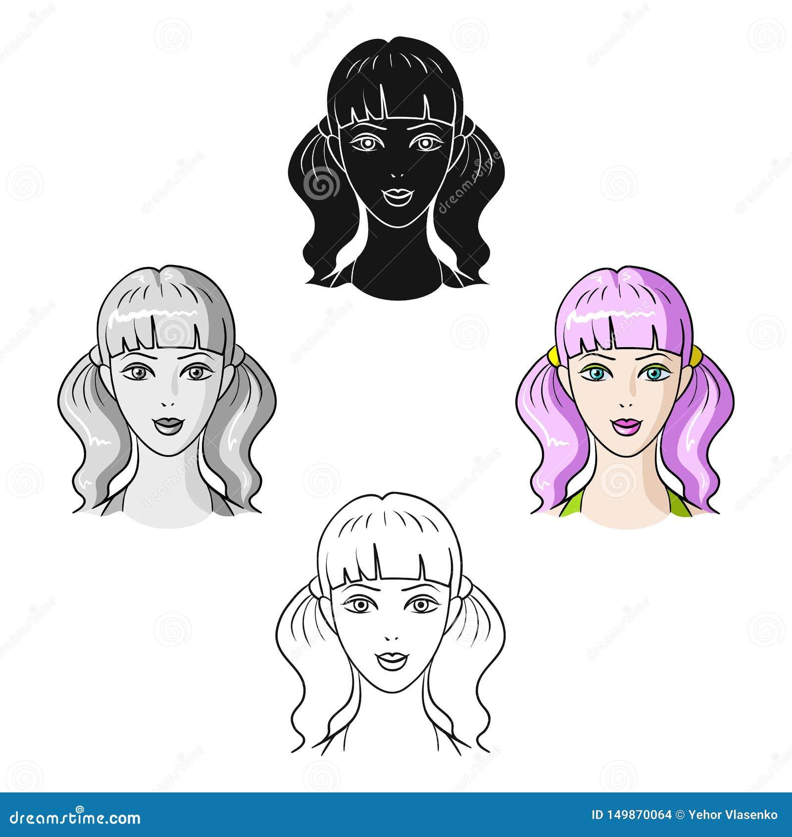 Muchacha de Avatar con el pelo rosado Avatar e icono de la cara solo en la historieta, ejemplo negro de la acci?n del s?mbolo del