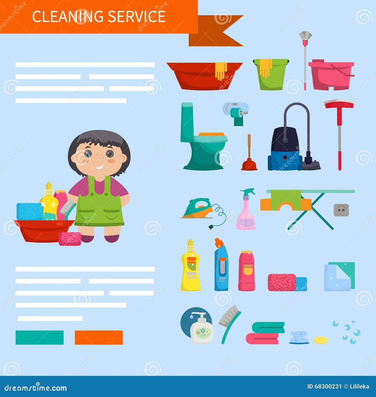 Muchacha de la historieta con un sistema de los objetos - Limpiar la casa ...