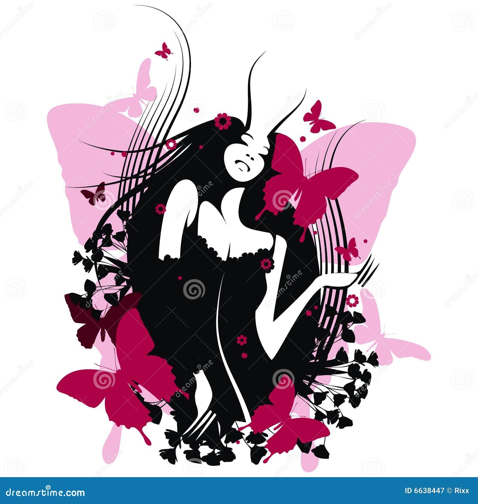 Muchacha De La Mariposa Ilustración Del Vector Ilustración De