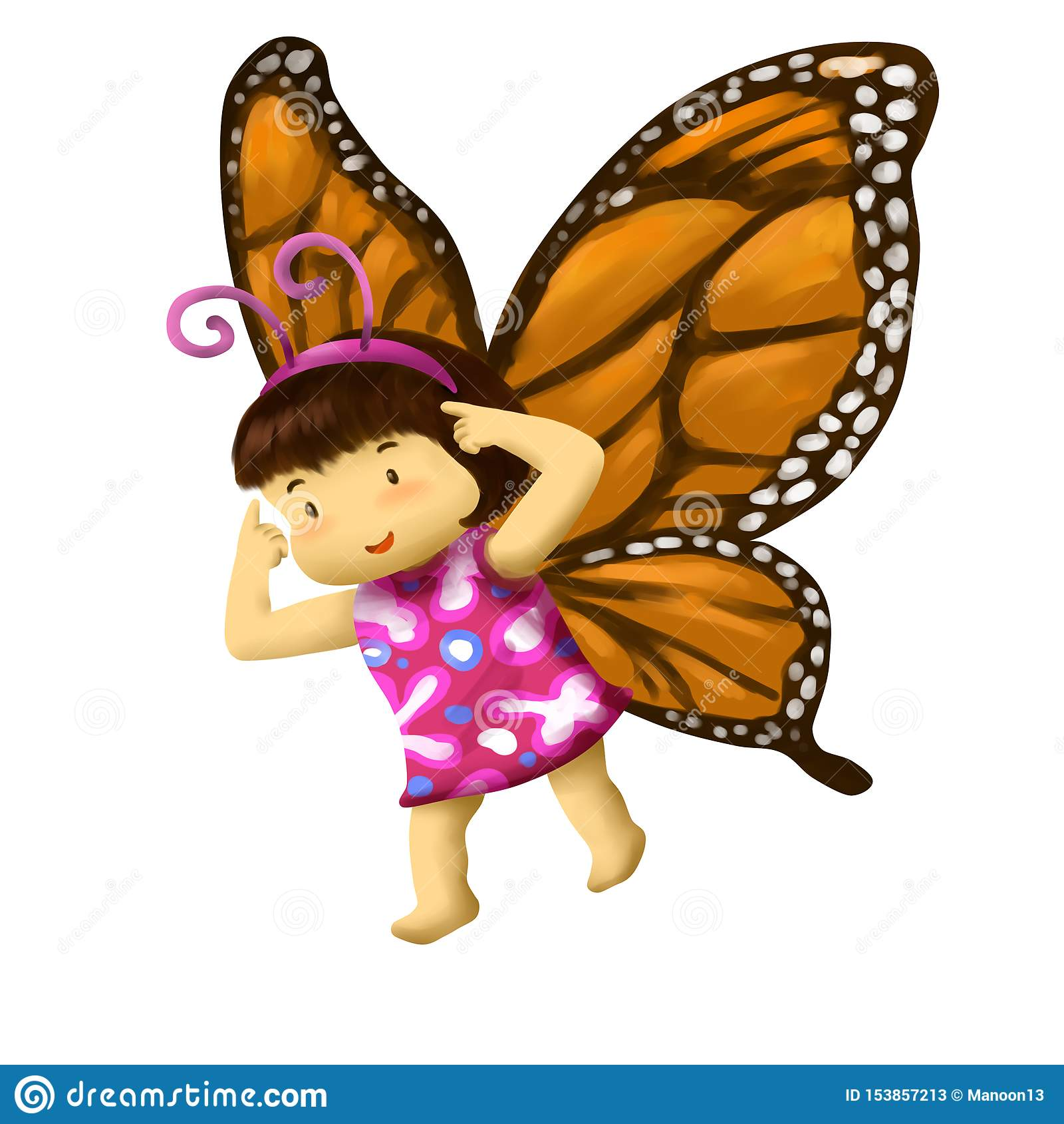 Muchacha de la mariposa, vestidos de la muchacha en traje de la mariposa