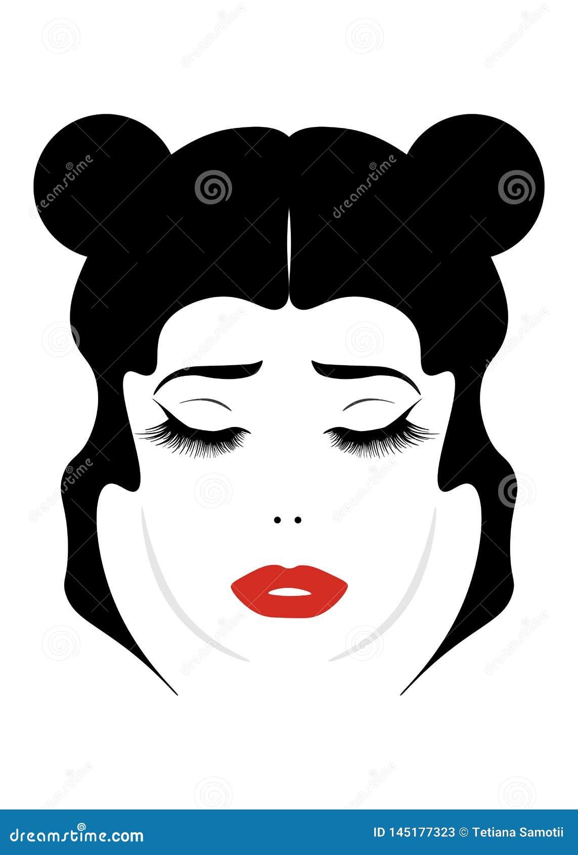 Muchacha de pelo rubio alegre de la historieta eautiful con el pelo recolectado en el retrato de la cola de caballo aislado en el