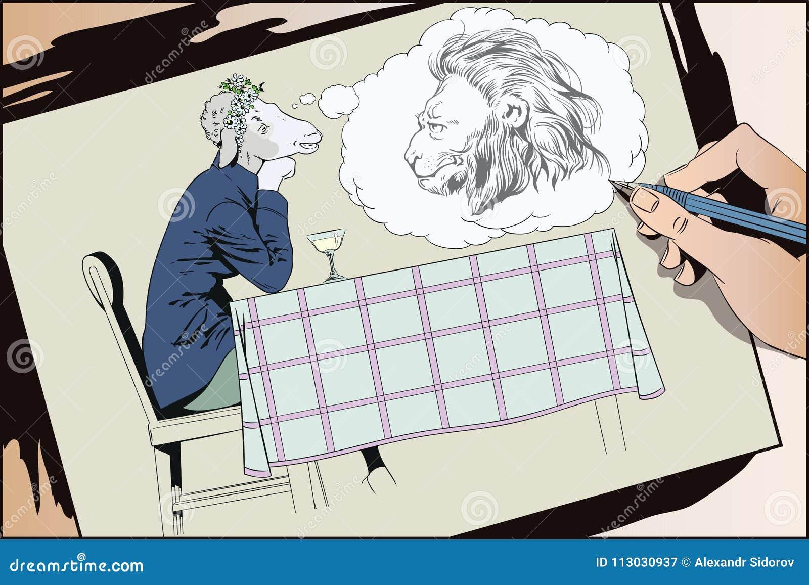 Muchacha de sueño Ovejas románticas Sueños de la mujer de un príncipe Gente