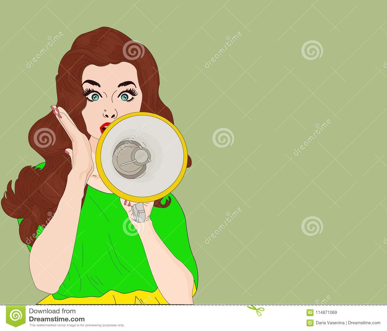 Muchacha del arte pop con el megáfono Mujer con el altavoz Muchacha que anuncia descuento o venta Tiempo de las compras