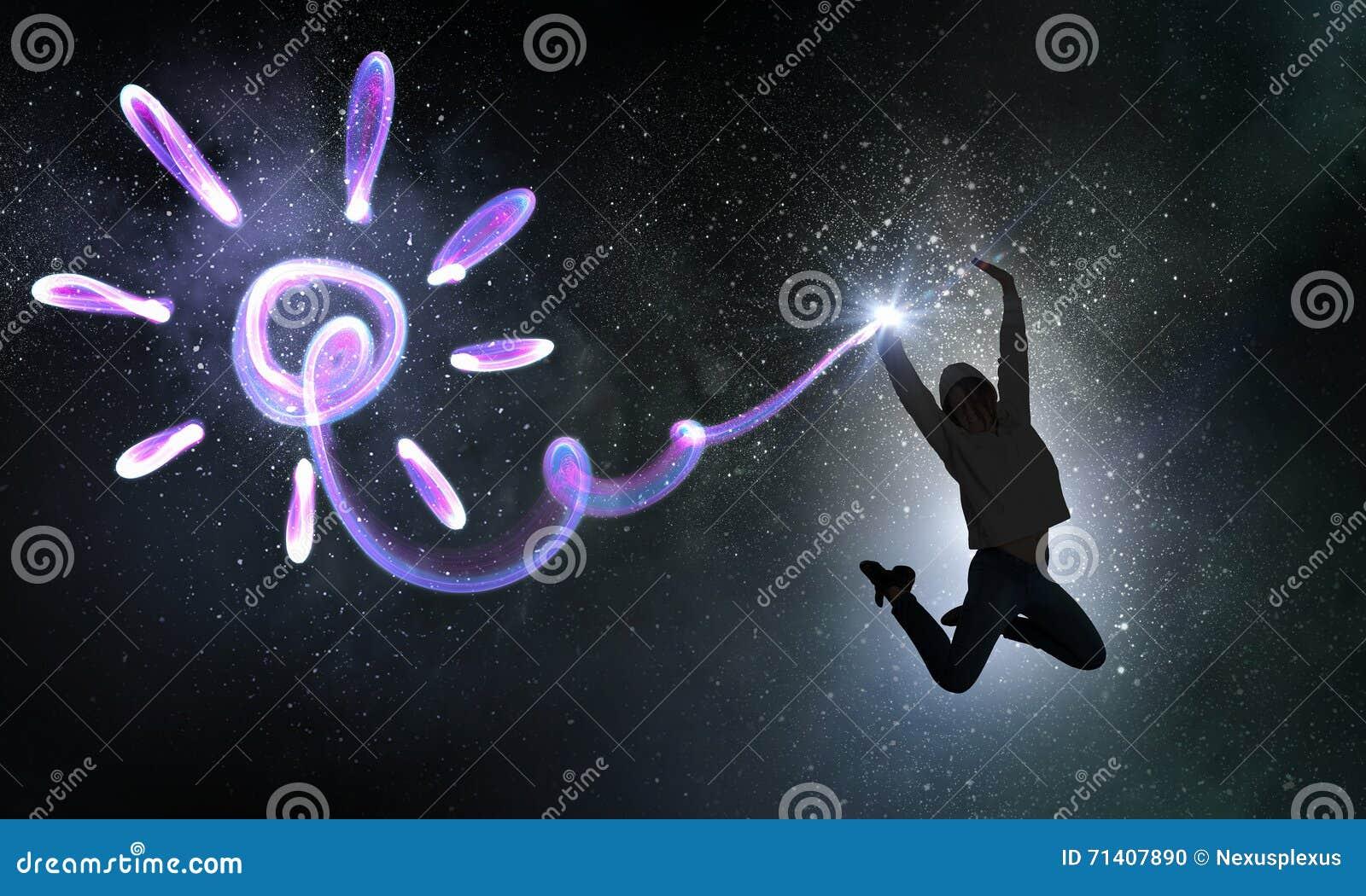 Muchacha del bailarín en salto