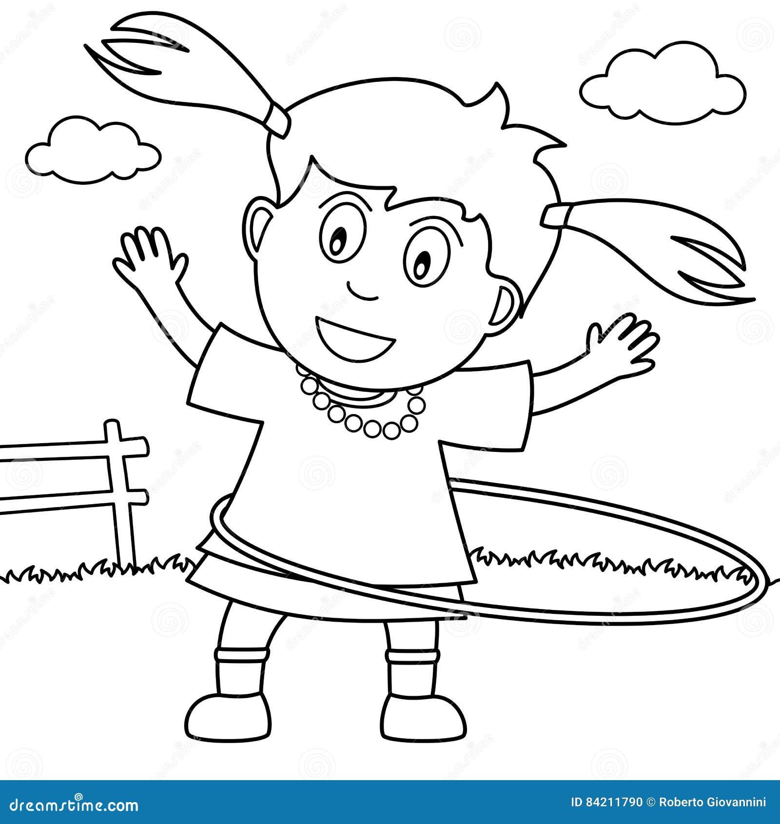 muchacha del colorante que juega el aro de hula en el