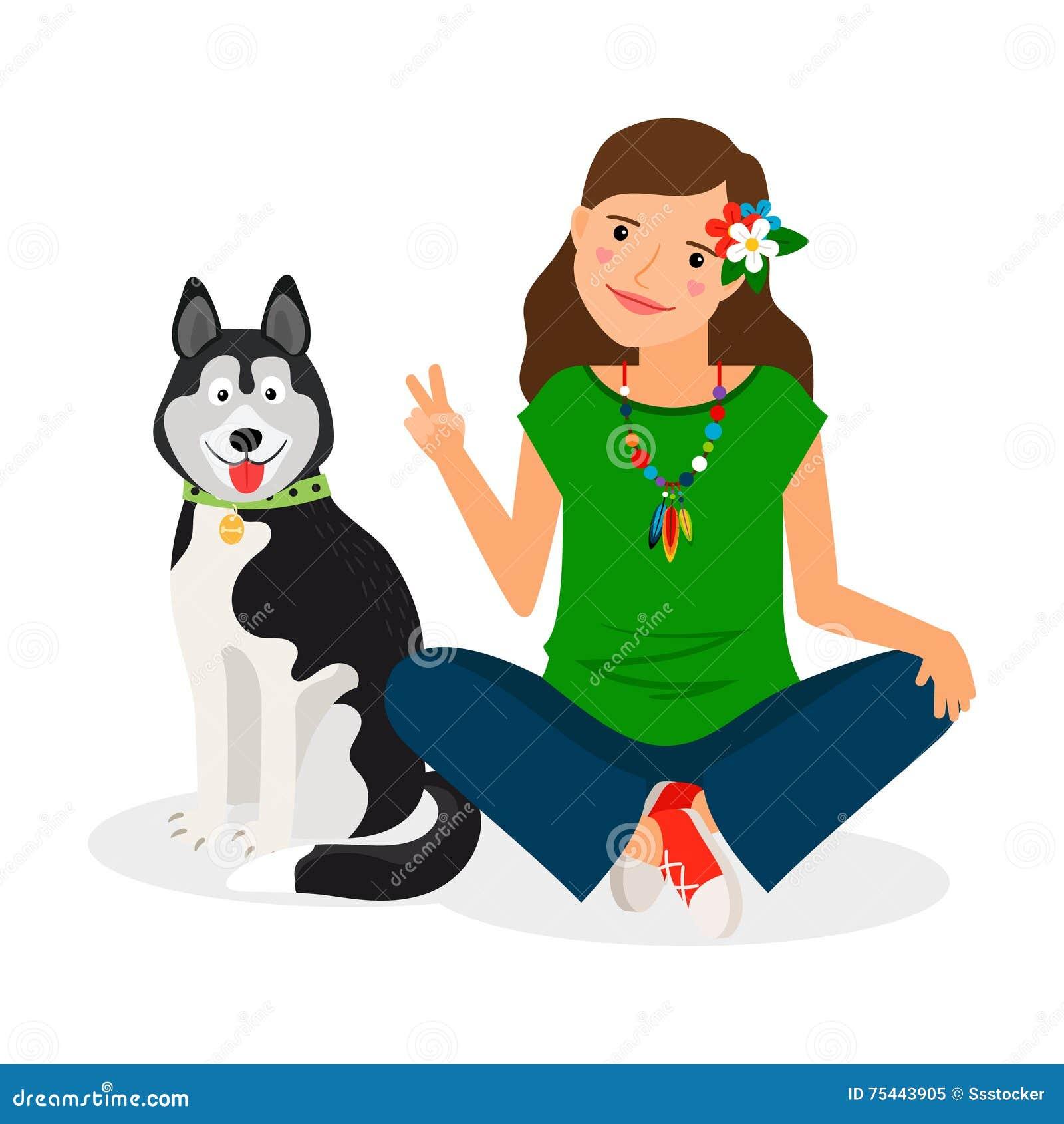 Muchacha del hippie con el perro