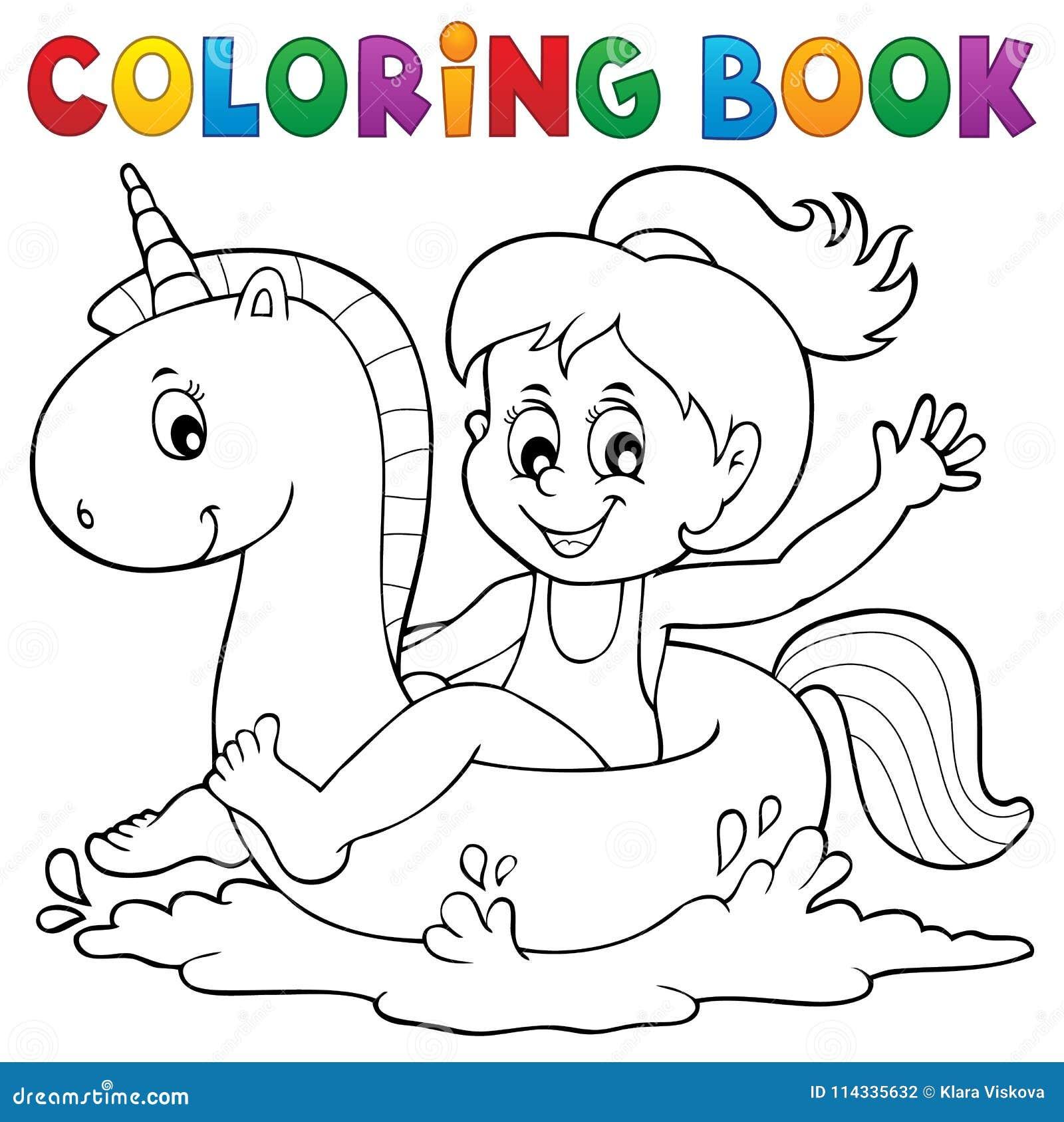 Muchacha Del Libro De Colorear Que Flota En El Unicornio 1 ...