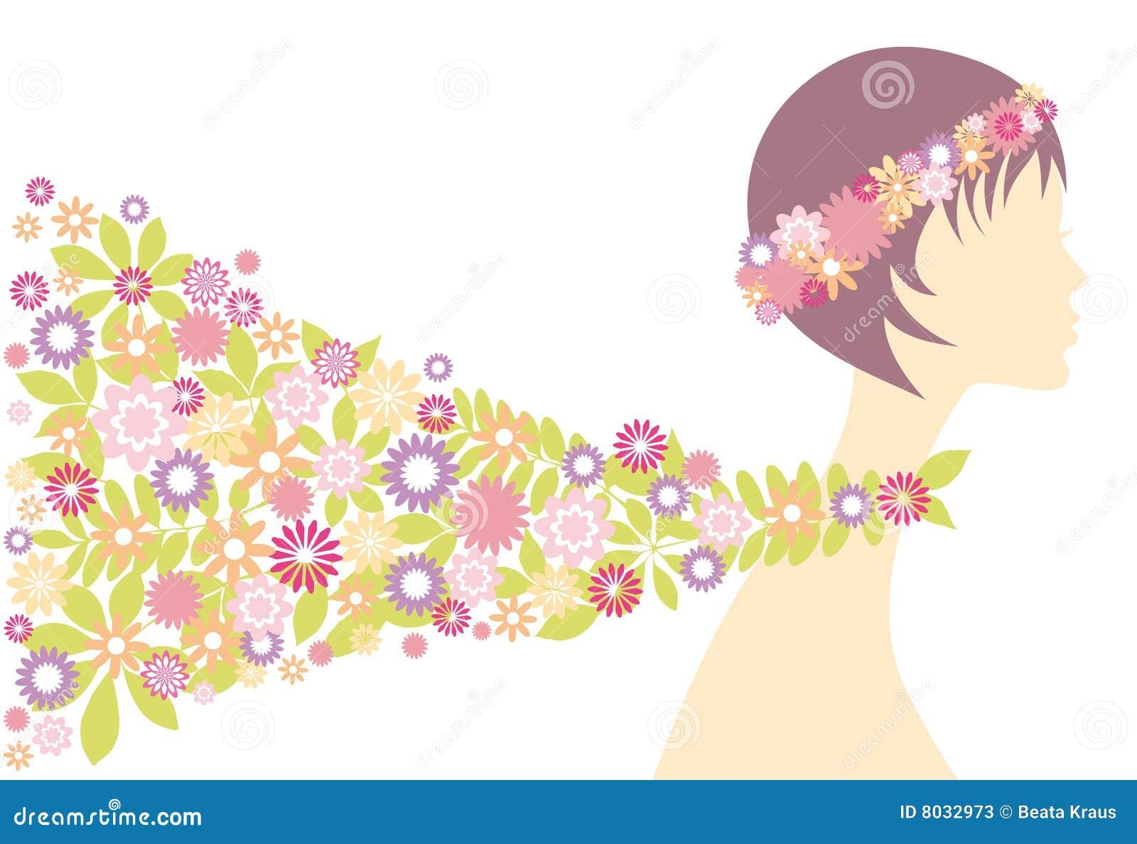 Muchacha del resorte con las flores