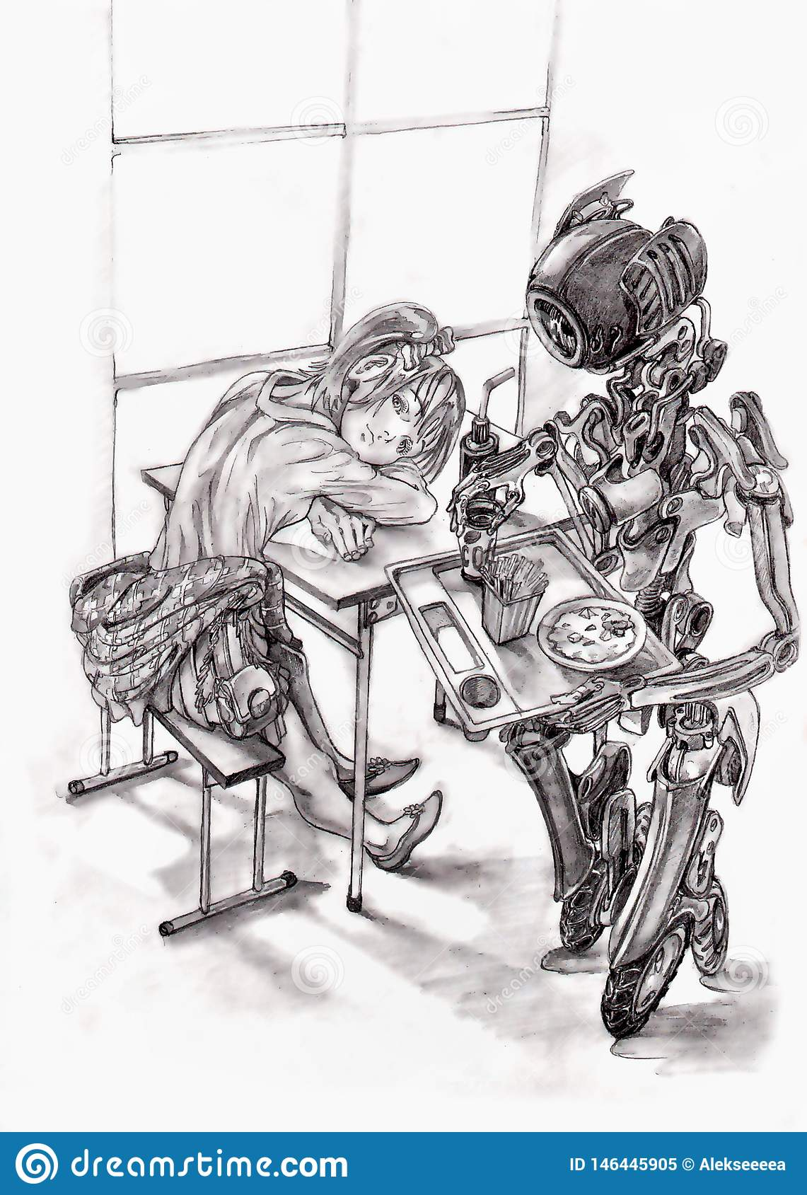 Muchacha en café, camarero del robot