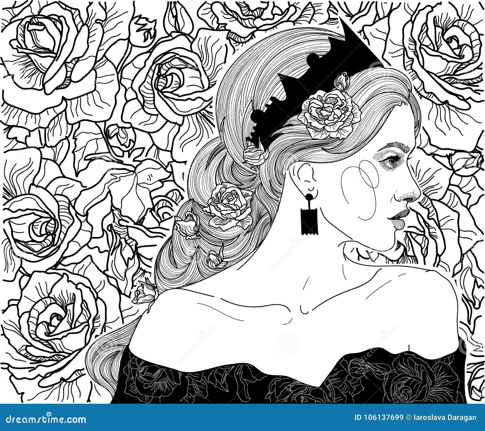 Muchacha en la corona de la reina