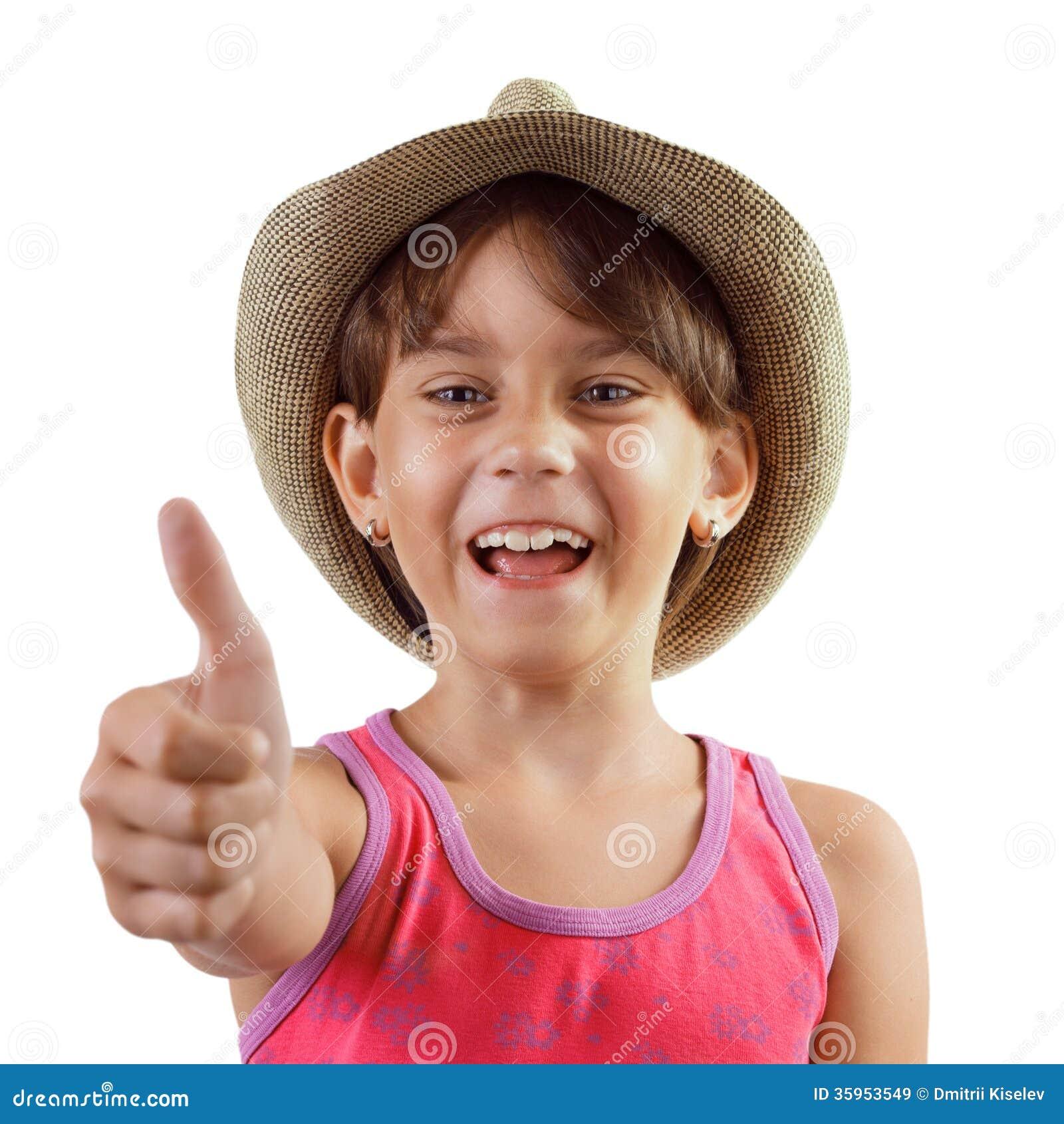 Muchacha encantadora feliz alegre en un sombrero