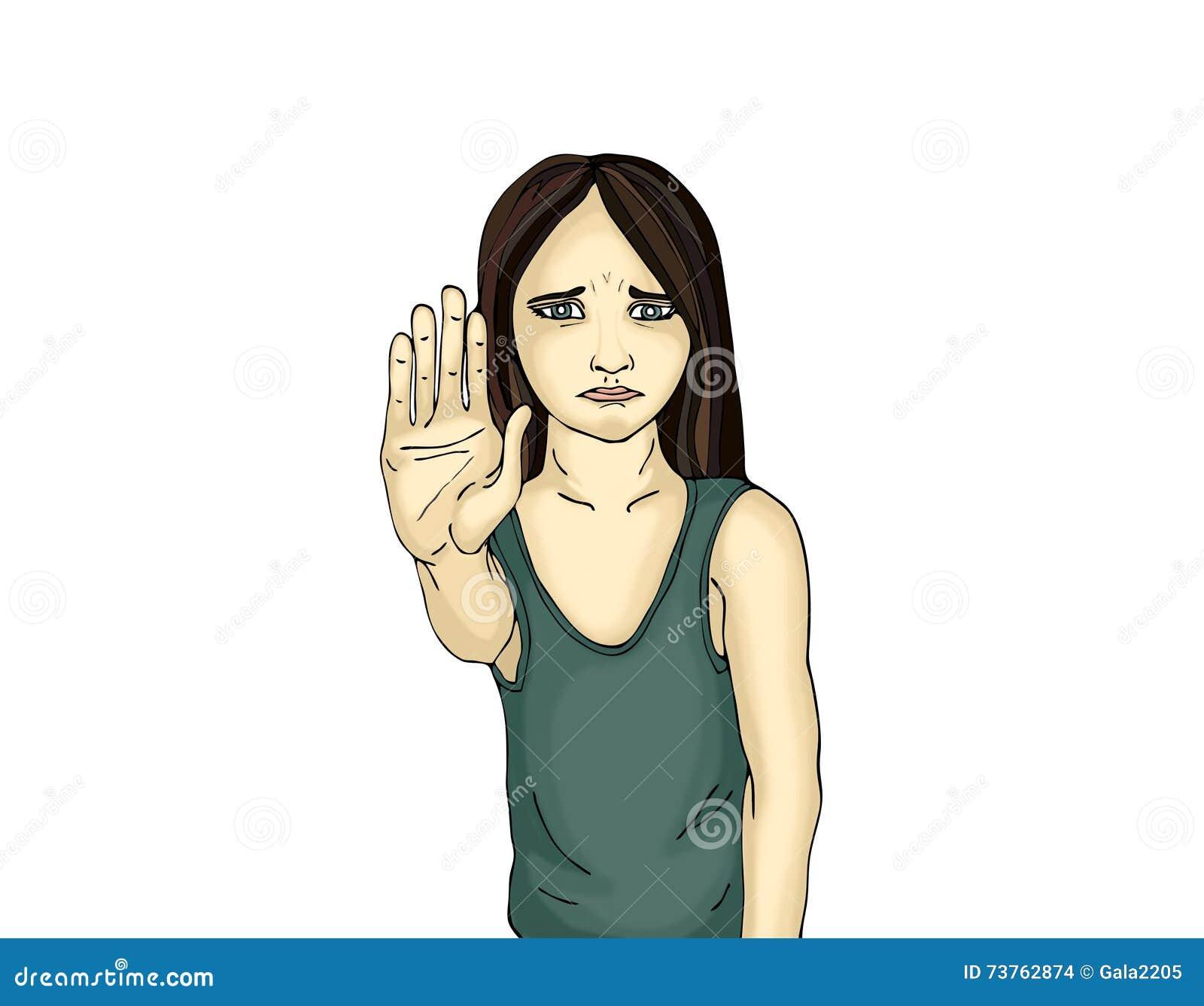 Muchacha enojada e infeliz que muestra a muestra de la mano bastantes Contra violencia
