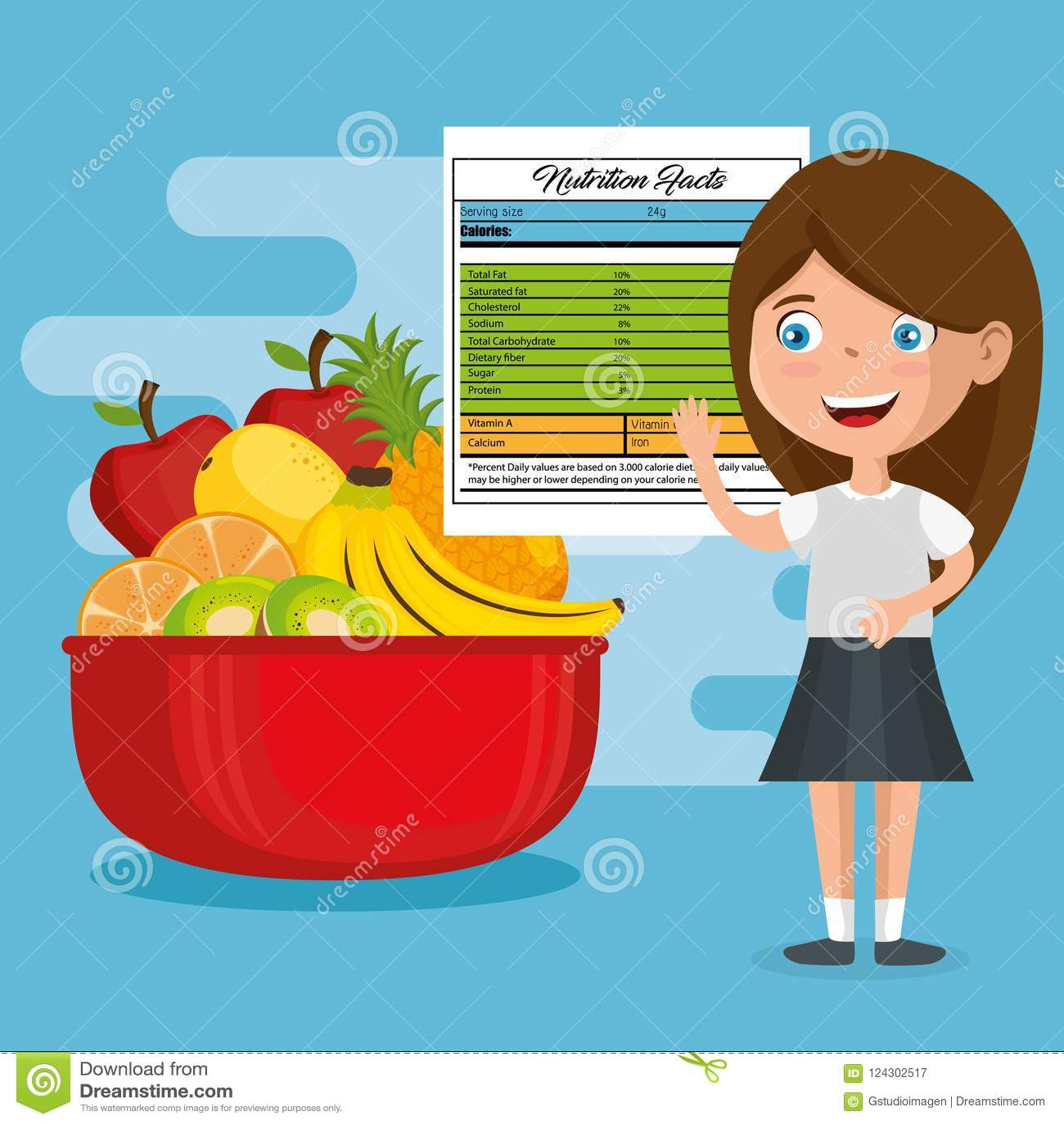 Muchacha feliz con hechos de la nutrición