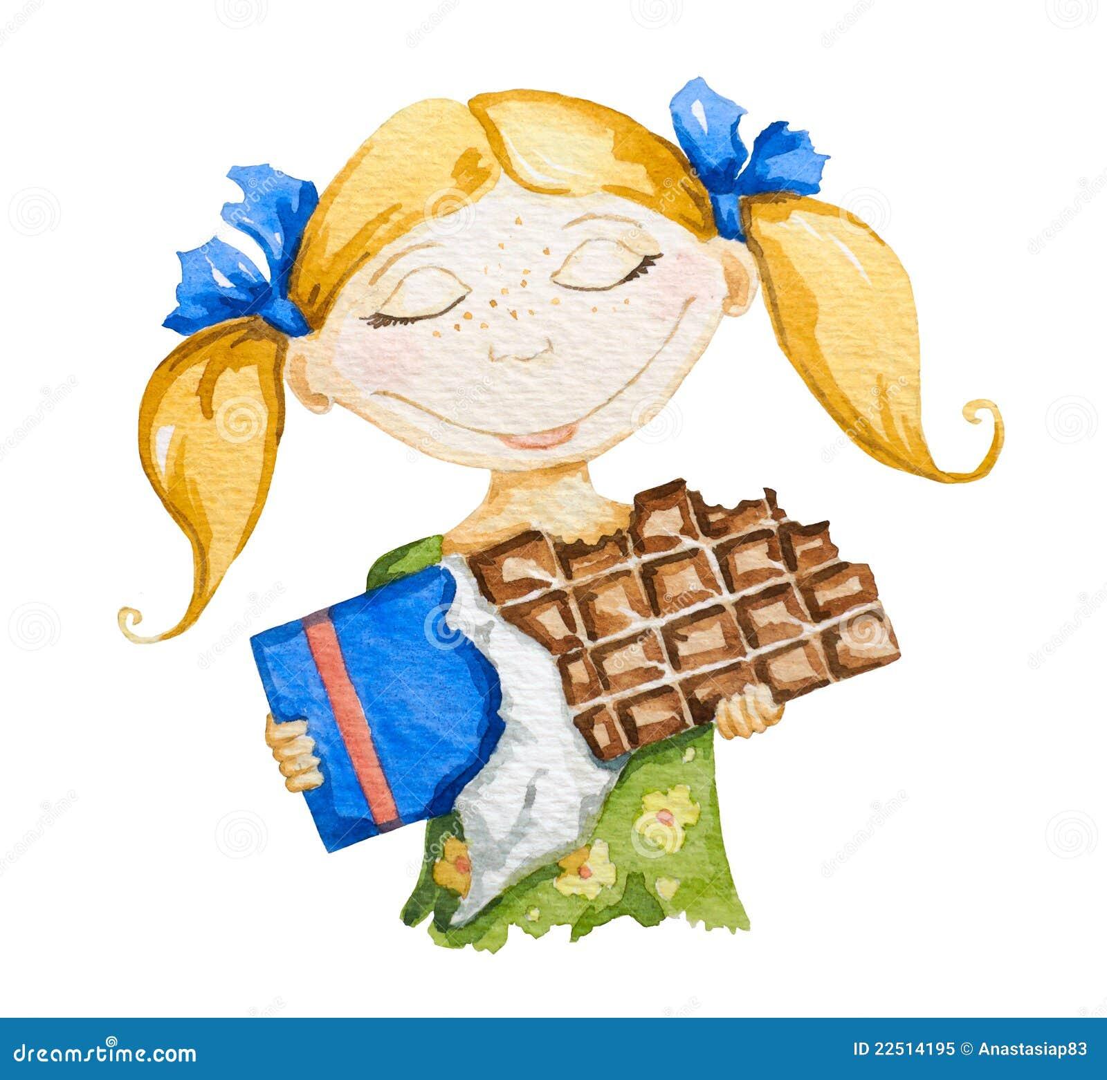 Muchacha feliz con una barra de chocolate grande
