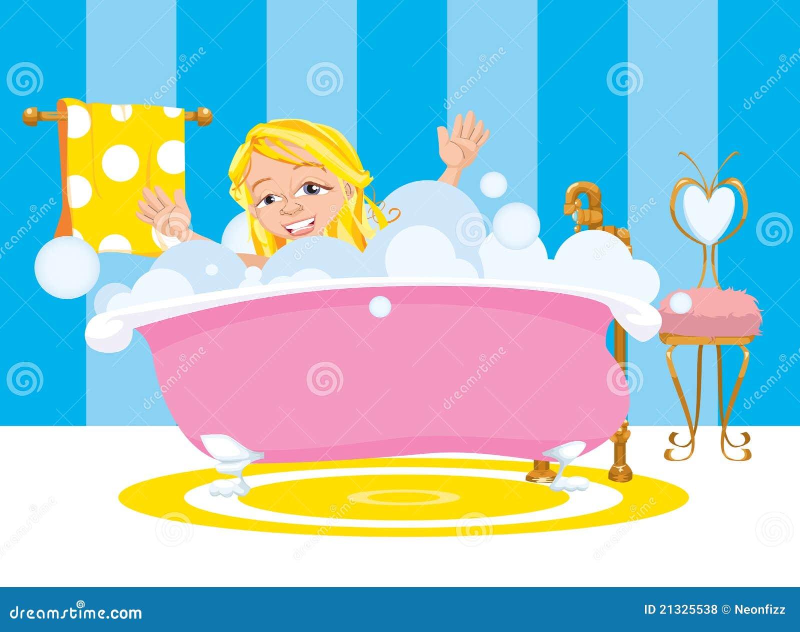 Muchacha feliz tomando un ba o de burbuja stock de - Hacer una mampara de ducha ...