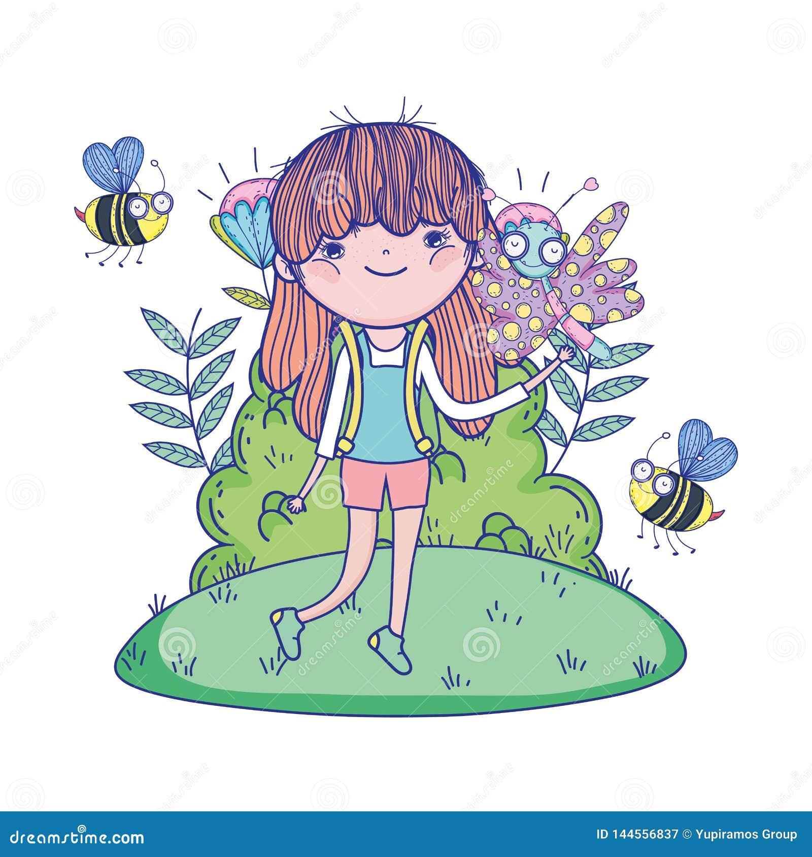 Muchacha hermosa con las abejas en los caracteres del campo