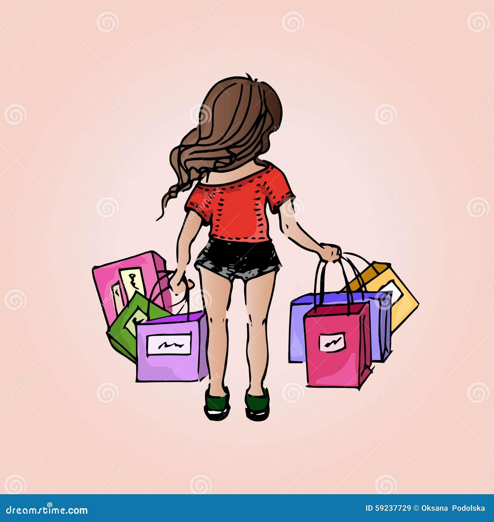 Download Muchacha Hermosa Del Ejemplo Compras Compras Muchacha-estudiante El Vacaciones Ilustración del Vector - Ilustración de holiday, feliz: 59237729