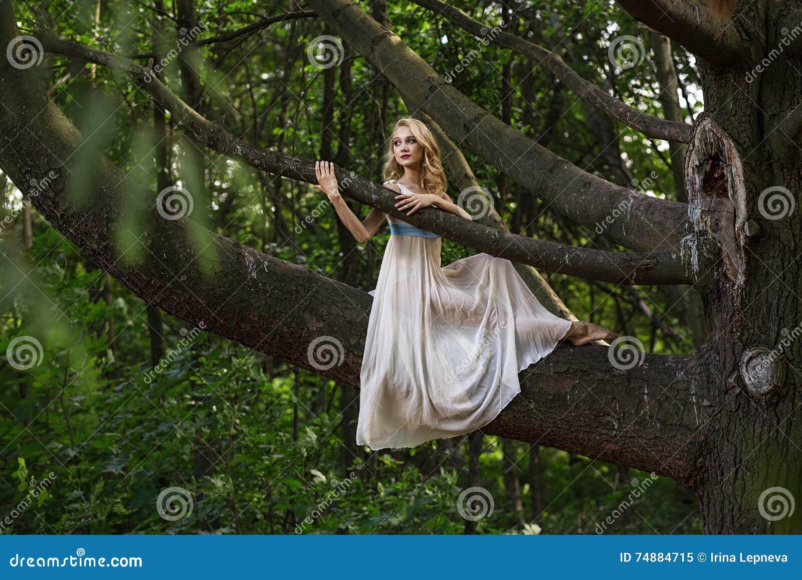 Muchacha hermosa joven que se sienta en un árbol grande en parque del verano