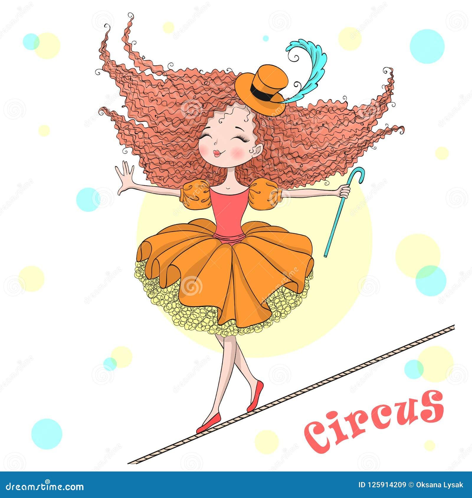 Muchacha linda hermosa exhausta del circo de la mano la pequeña equilibra en una cuerda tirante