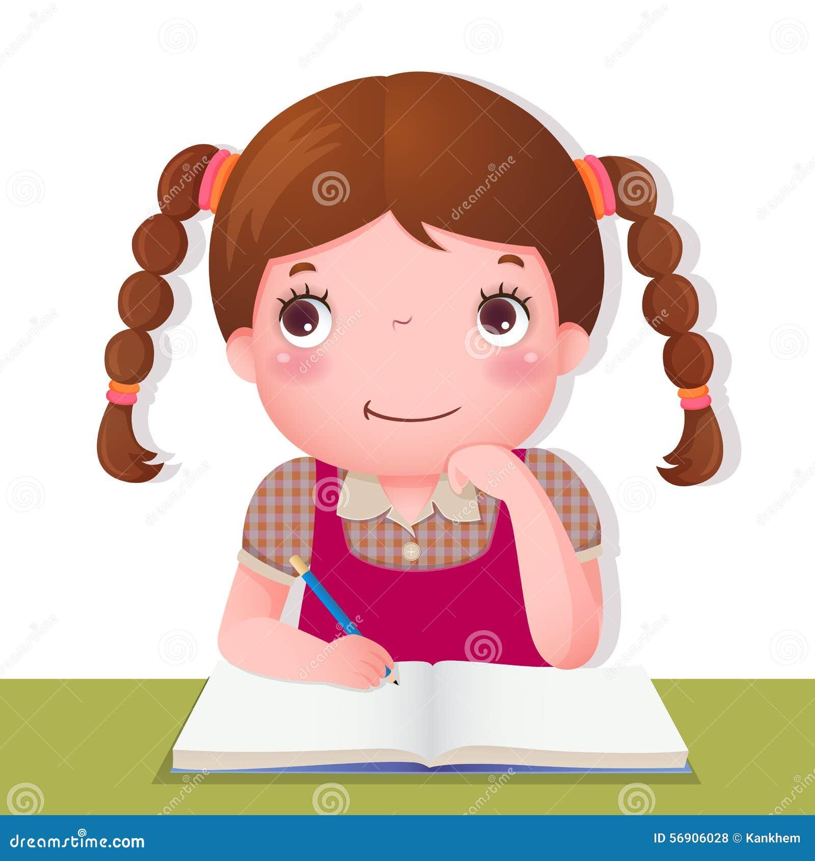 Muchacha linda que piensa mientras que trabaja en su proyecto de la escuela