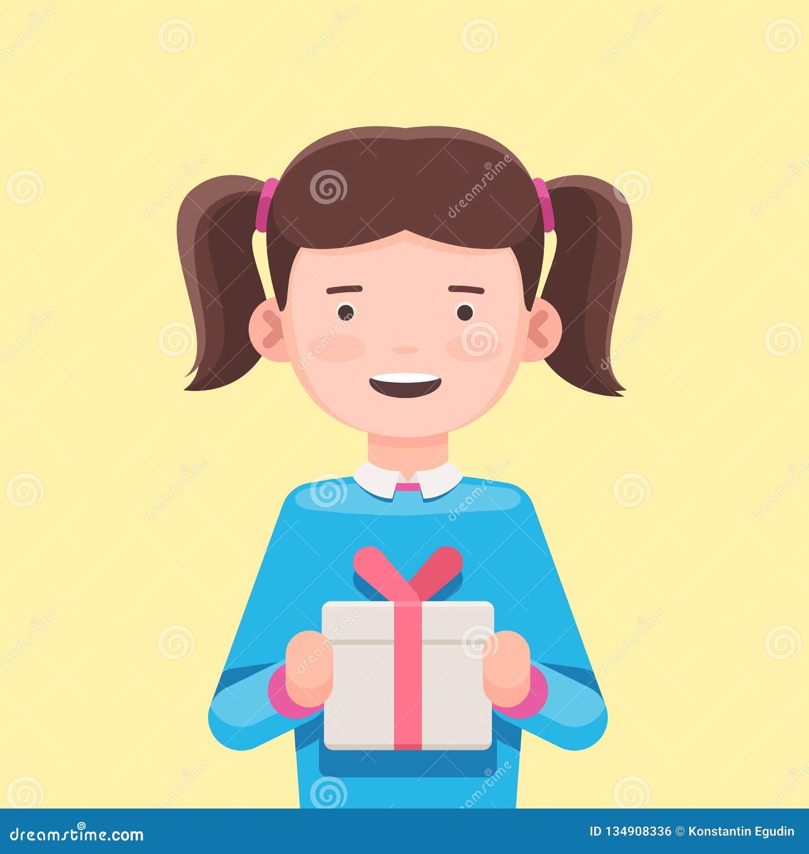 Muchacha linda que sostiene una caja de regalo