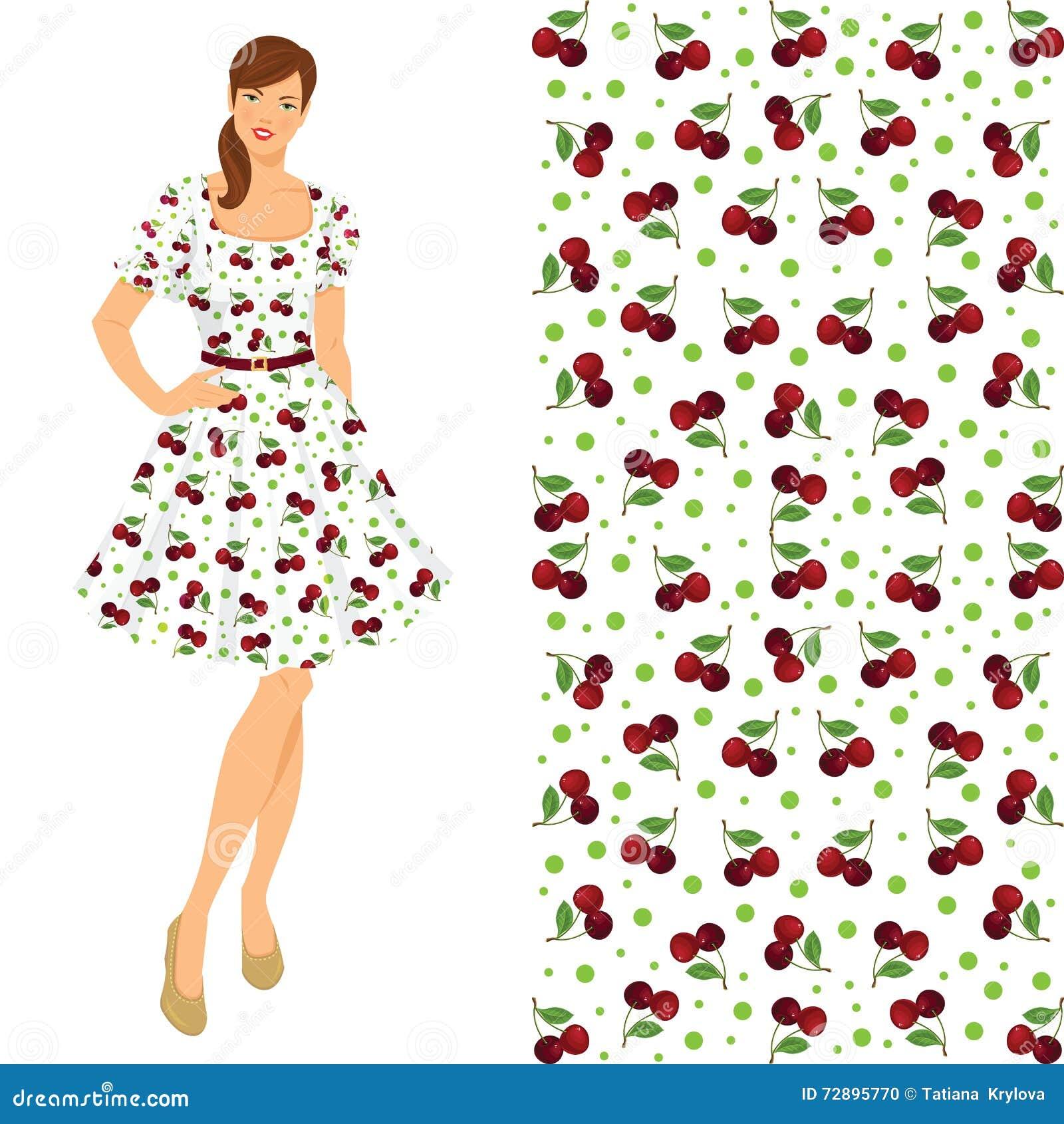 b9d5a4f9f Vector el ejemplo de la muchacha morena joven en el vestido elegante  aislado en el fondo blanco Estilo de los años 50 de la ropa Modelo con la  cereza
