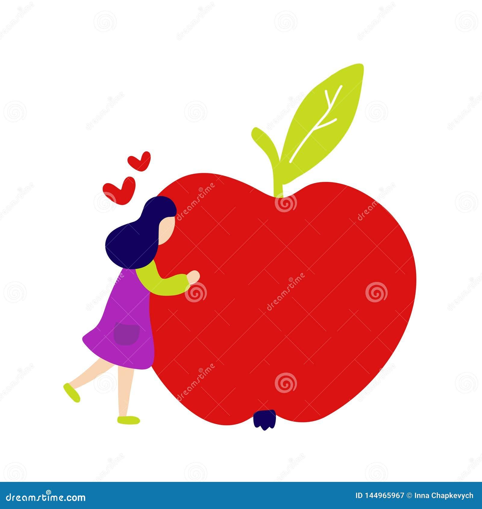 Muchacha que abraza la manzana roja grande