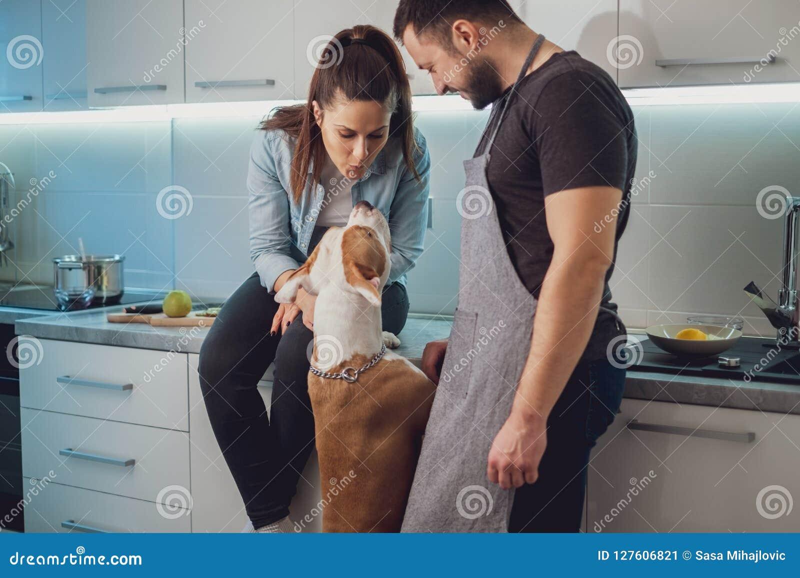 Muchacha que besa su perro mientras que se sienta por su novio