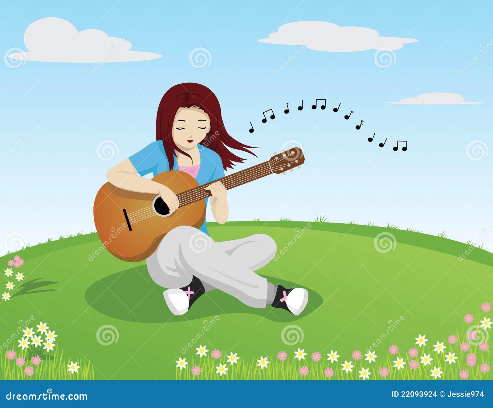 Muchacha Que Canta Mientras Que Toca La Guitarra Imagenes ...