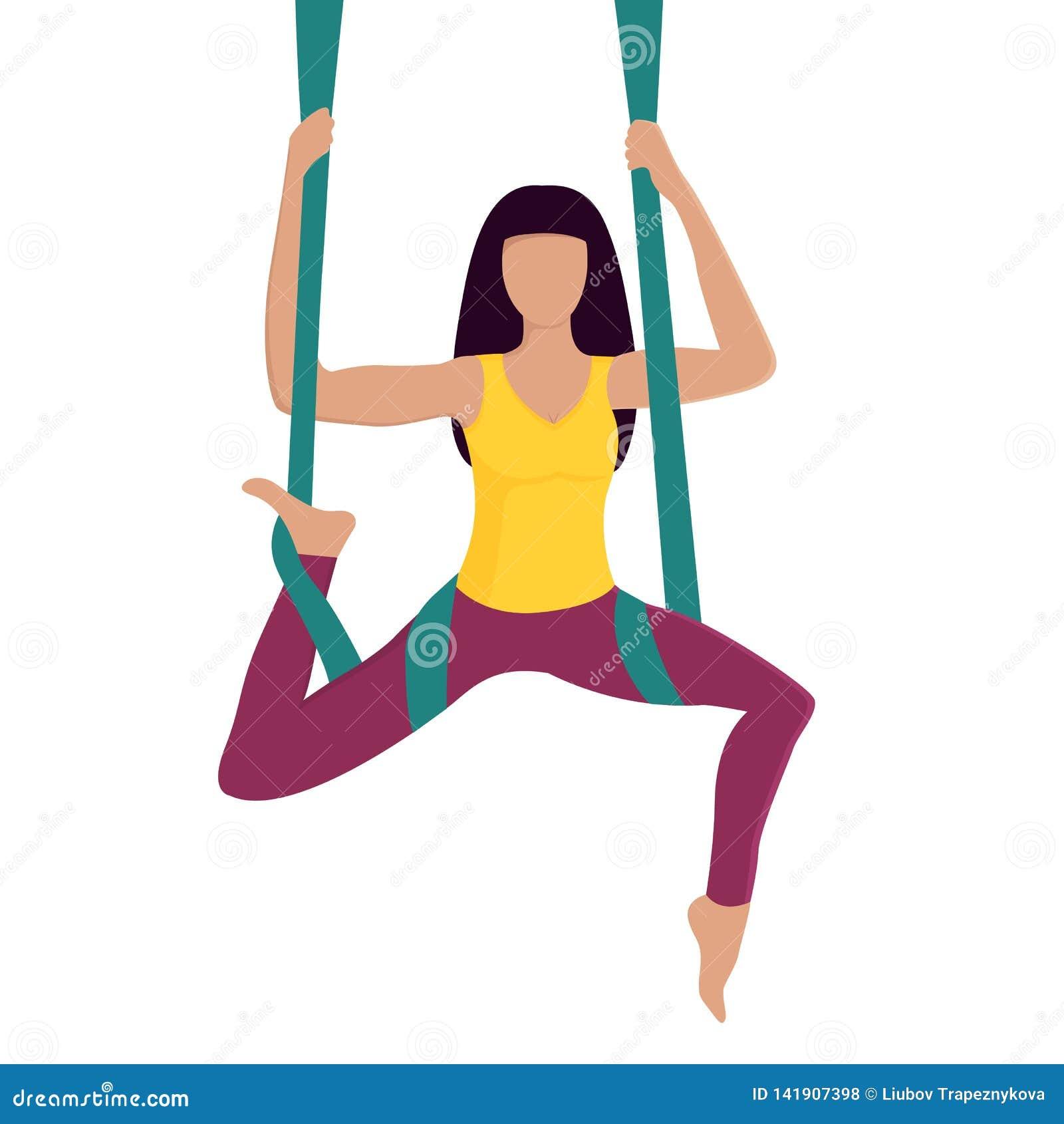 Muchacha que hace yoga de la mosca con la hamaca aérea Forma de vida sana entrenamiento