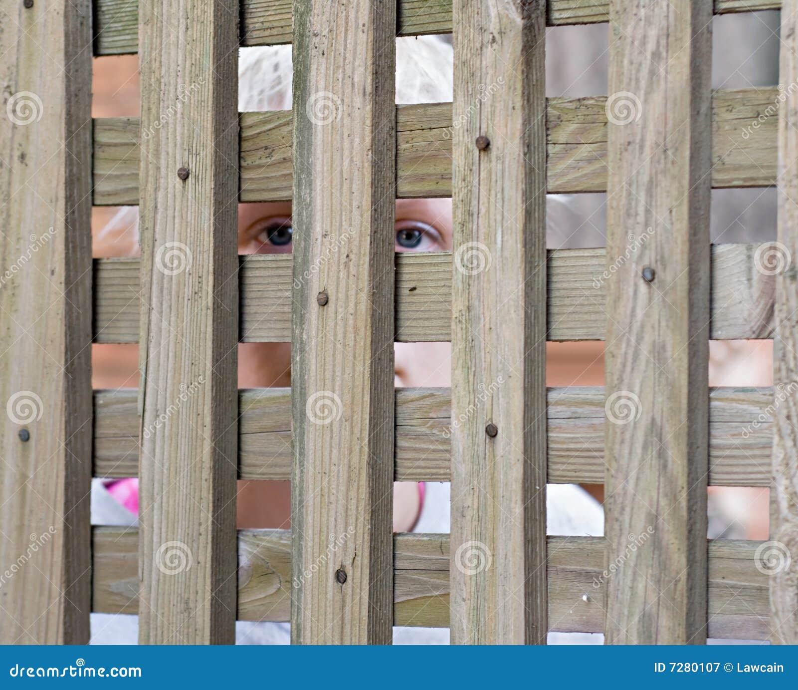 Muchacha que mira con fijeza a través de la cerca