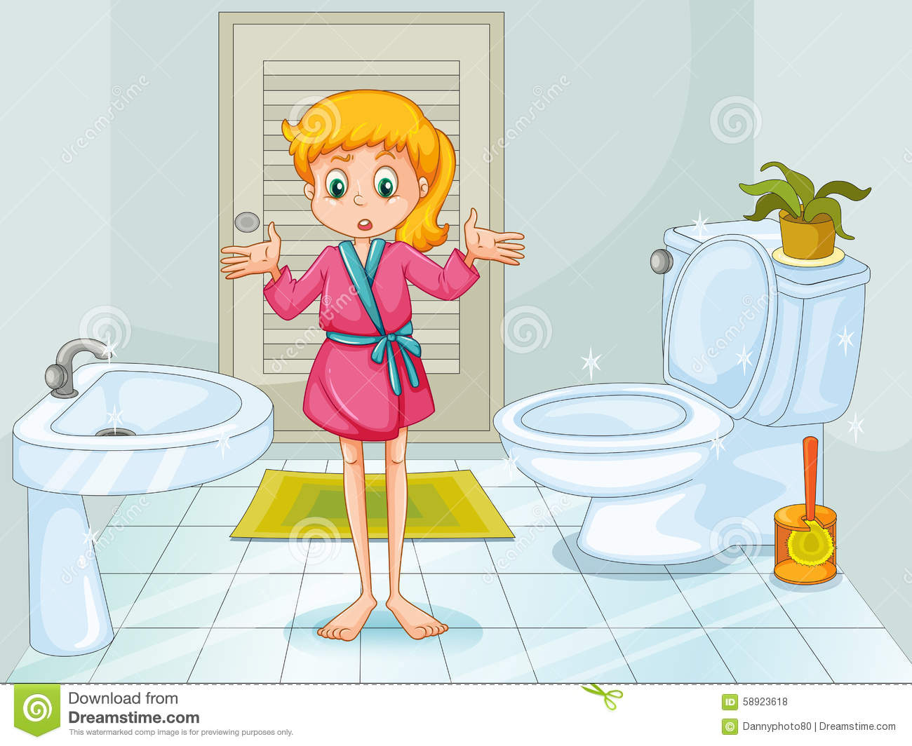 Imagen De Baño Limpio:Illustration Boy Bathroom