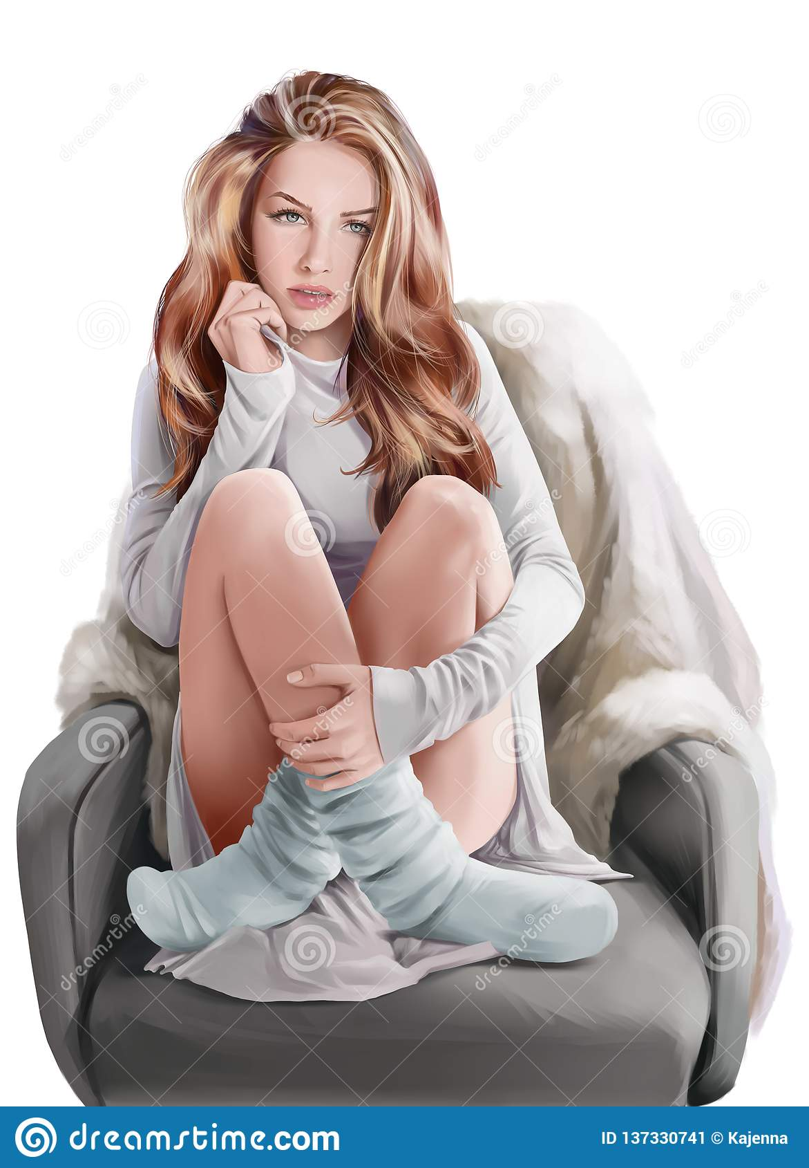 Muchacha que se sienta en una silla Pintura de la acuarela
