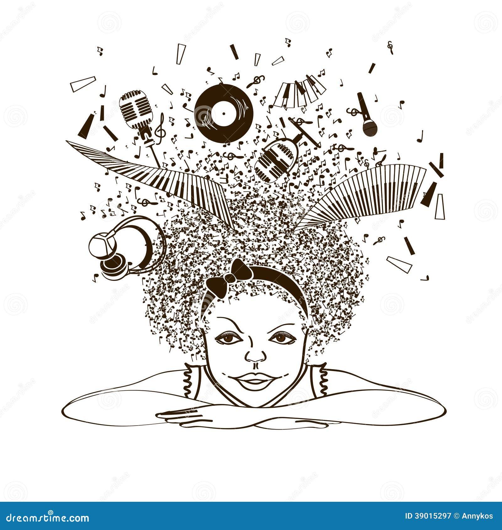 Muchacha que sueña para ser un músico