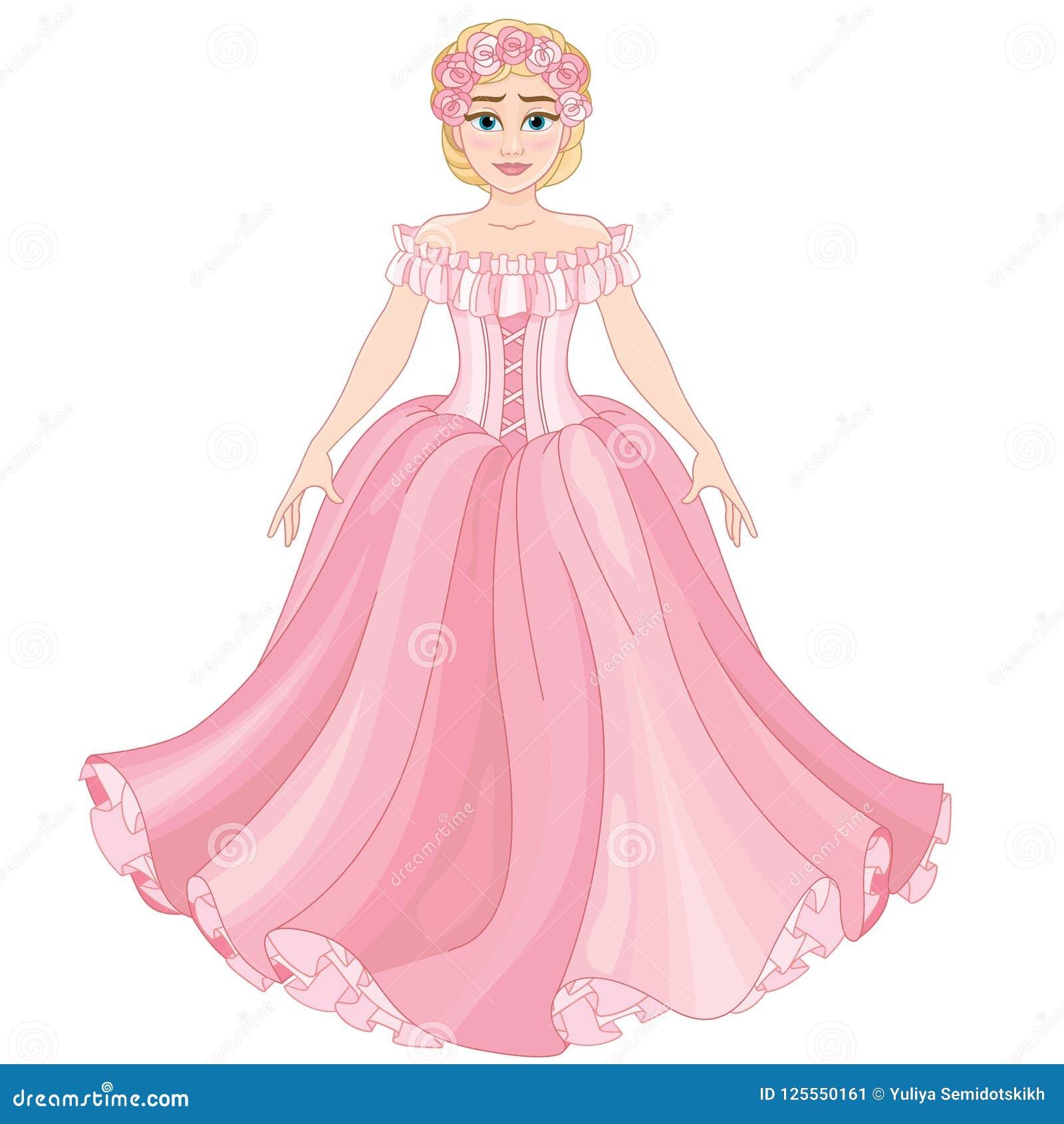 Largo Rosado Rubia Muchacha En Vestido Ilustración Hermosa AjLqc354R