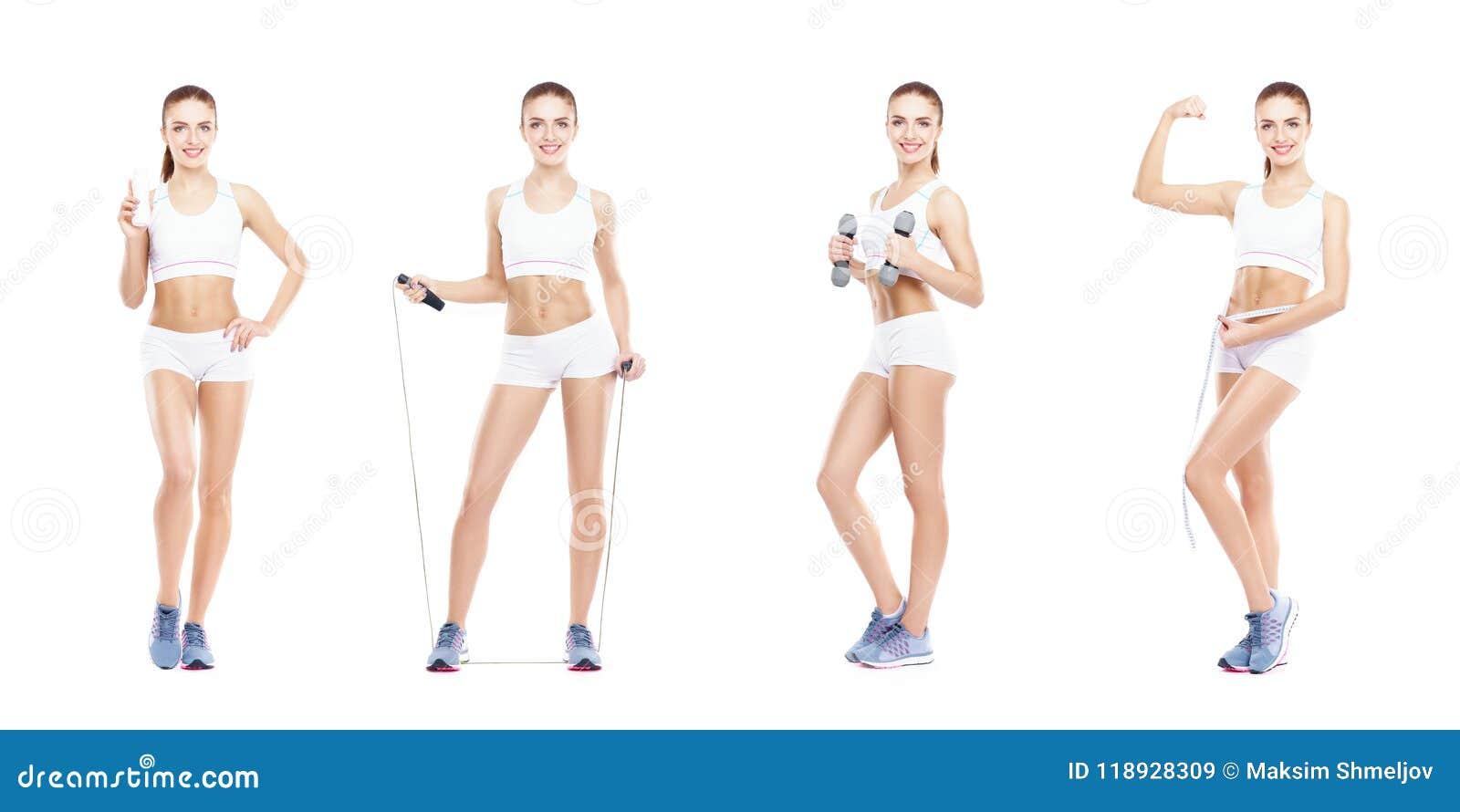 Muchacha sana, deportiva y hermosa aislada en el fondo blanco Mujer en una colección del entrenamiento de la aptitud Nutrición, d