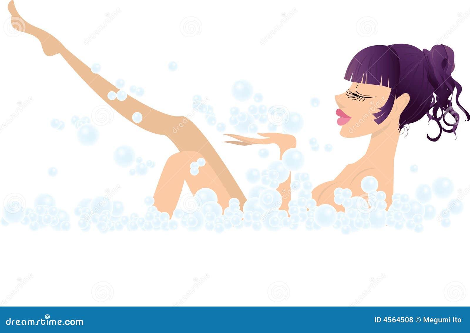 Muchacha y baño atractivos