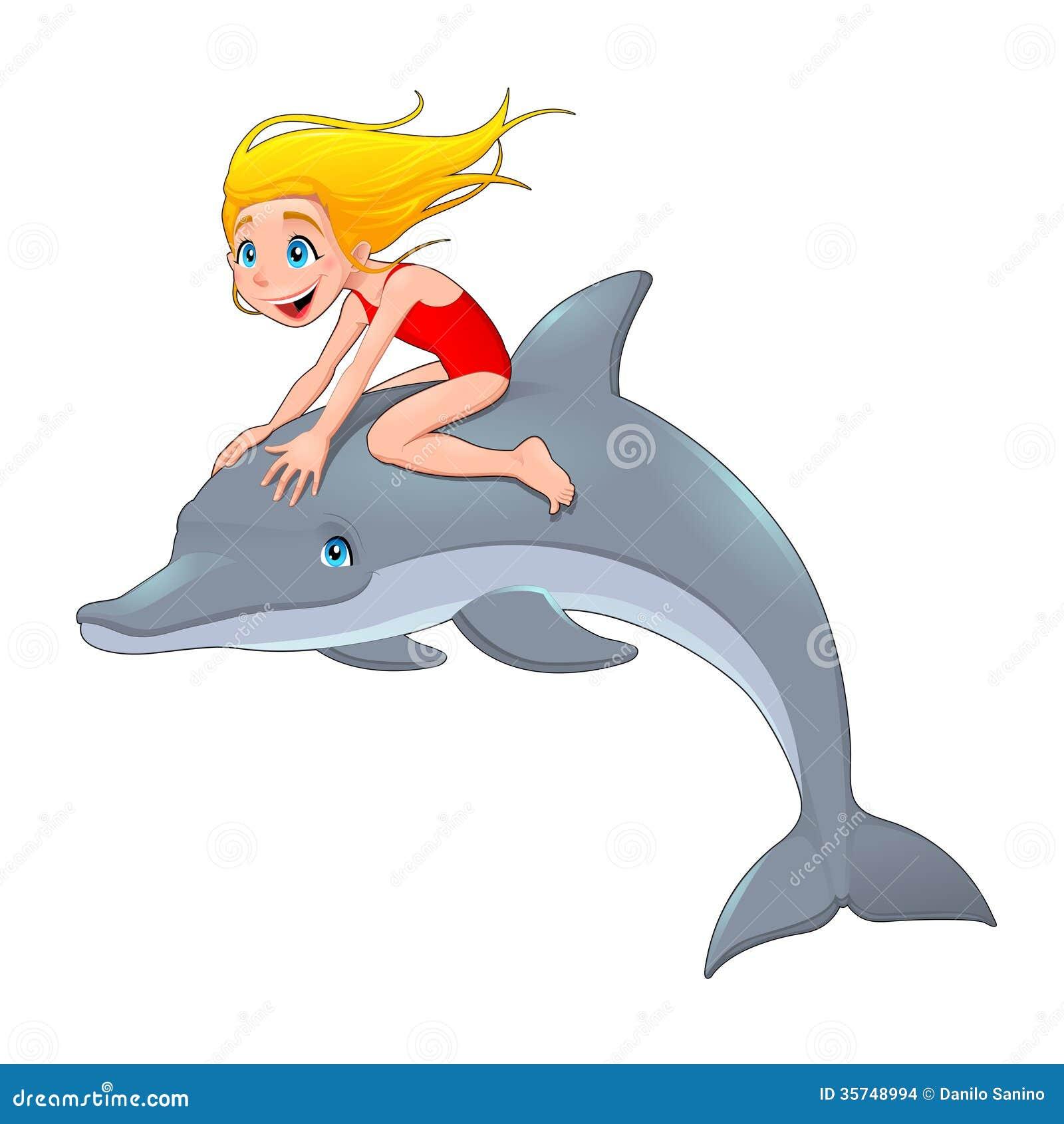 Muchacha y el delfín.