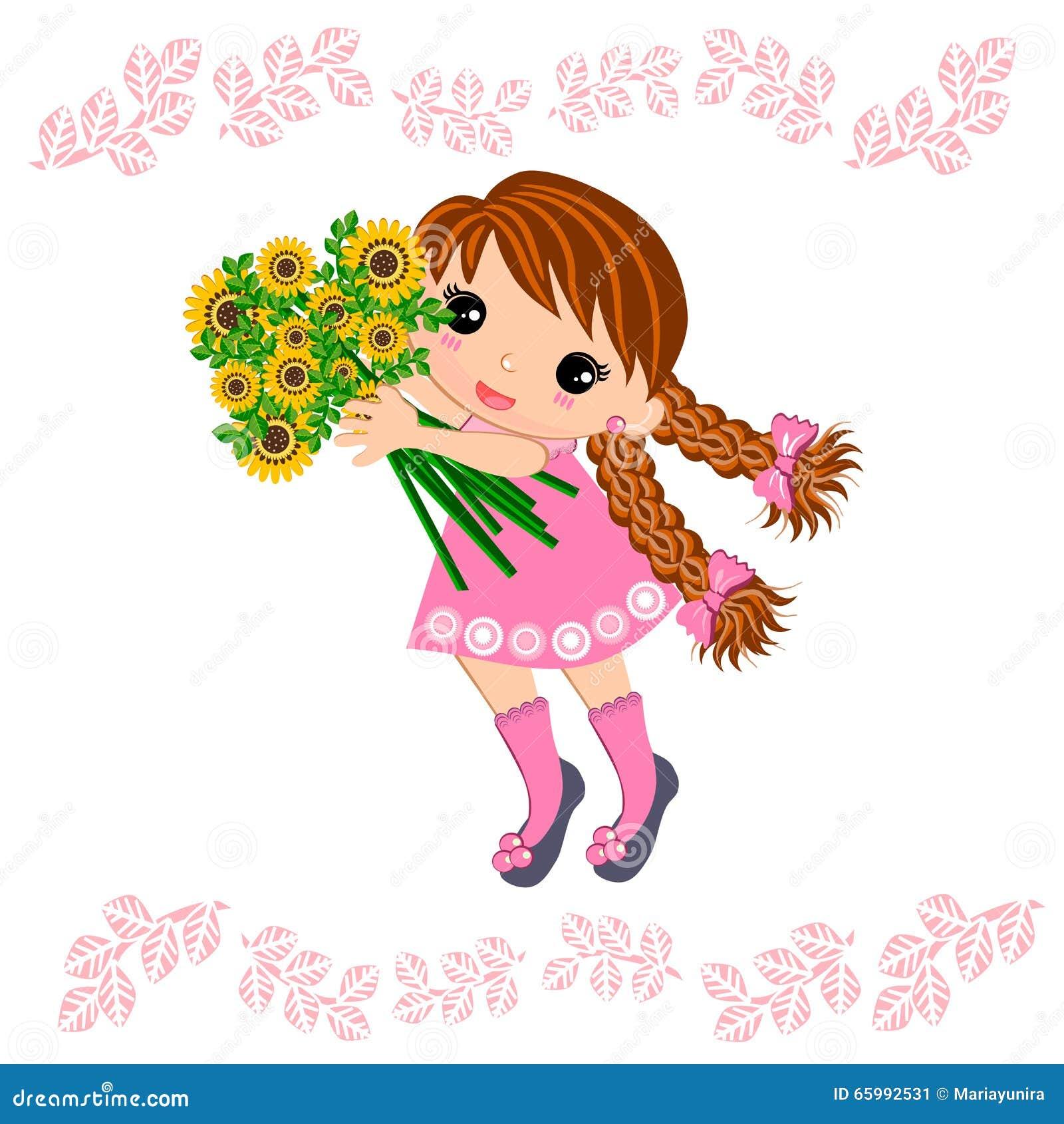 Muchacha y ramo lindos de flores